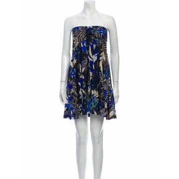 Floral Print Mini Dress Blue