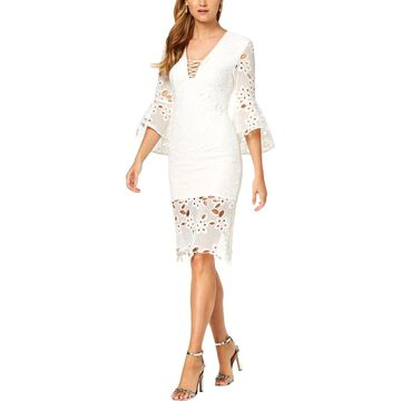 Bardot Womens Party Dress Lace Bell Sleeves