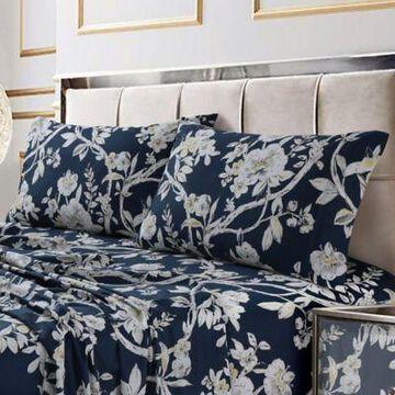 Tribeca Living Colmar 300-Thread-Count Deep Pocket California King Sheet Set in Navy