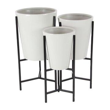 Decmode Modern Iron Conical Planters w/ Stand, White, Set of 3