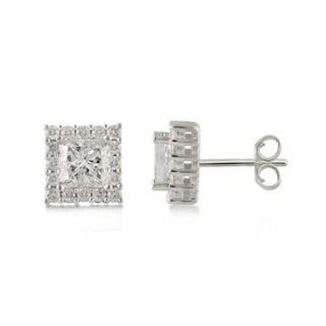 Divina 10KT Gold 2.00ct TDW Princess Diamond Halo Earrings