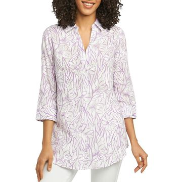 Foxcroft Womens Floral Print Long Sleeves Blouse