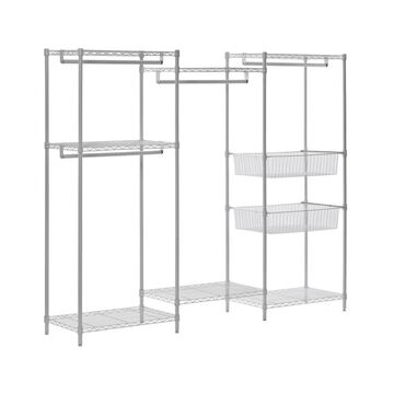 White Wire 6-Shelves 4-Hanger Bars Room Steel Closet System Organizer