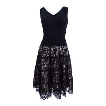 SL Fashions Women's Sleeveless Ruched Lace A-Line Dress - Black/Linen