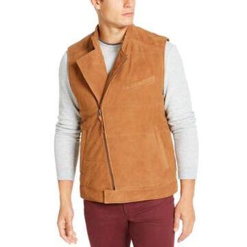 Tasso Elba Men's Suede Asymmetrical Zip-Up Vest, Created For Macy's