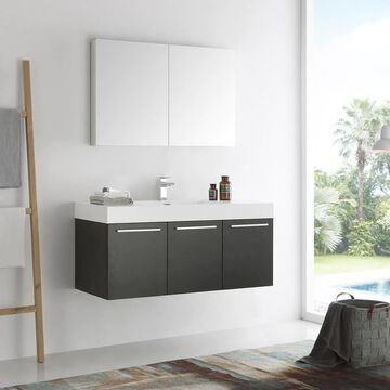 Fresca Senza 48-in Black Single Sink Bathroom Vanity with White Acrylic Top (Faucet Included) | FVN8092BW