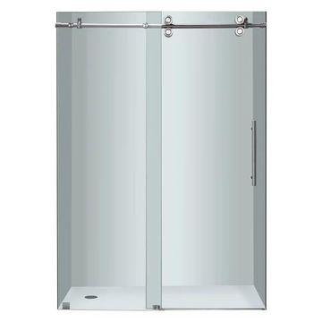 Aston Frameless Sliding Shower Door, Stainless Steel, 48