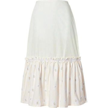 Solid & Striped - Peasant Tiered Floral-print Cotton-poplin Skirt - White