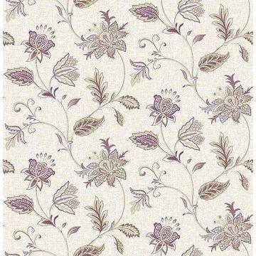 Brewster 2657-22208 Georgette Burgundy Jacobean Wallpaper
