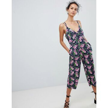 QED London cross back jumpsuit in floral print