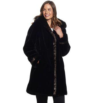 Women's Gallery Hood Faux-Fur Walker Coat