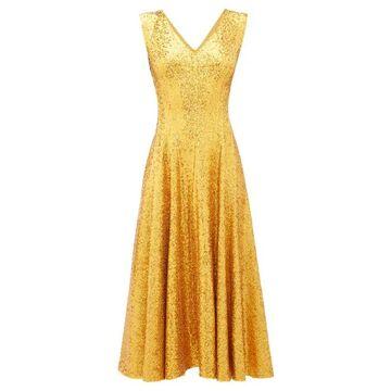 Norma Kamali - Grace Sequinned Midi Dress - Womens - Gold