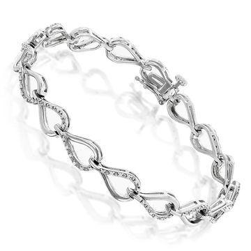 Luxurman Sterling Silver 1/4ct TDW Diamond Link Bracelet
