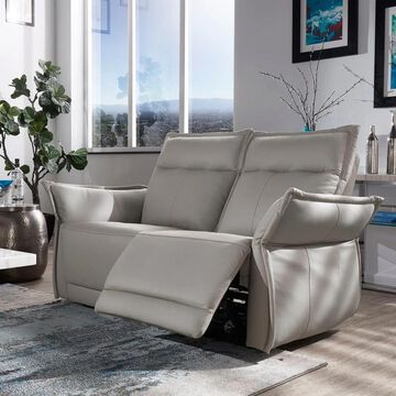 Lennon Grey Leather Power Reclining Sofa and Loveseat by iNSPIRE Q Modern