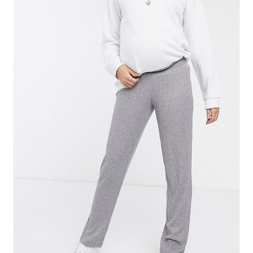 Mamalicious maternity knitted lounge pants in gray