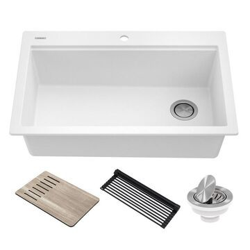 Kraus Bellucci Workstation Drop-In 33-in x 22-in White Single Bowl Workstation Kitchen Sink All-in-One Kit Stainless Steel