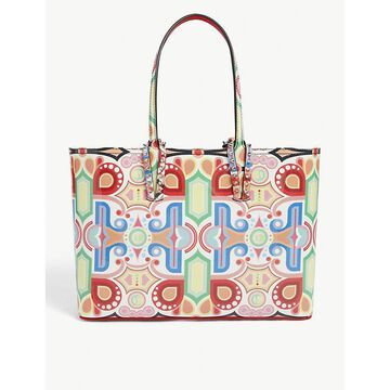 Christian Louboutin Womens Multi Cabata Tivoli-print Small Leather Tote bag