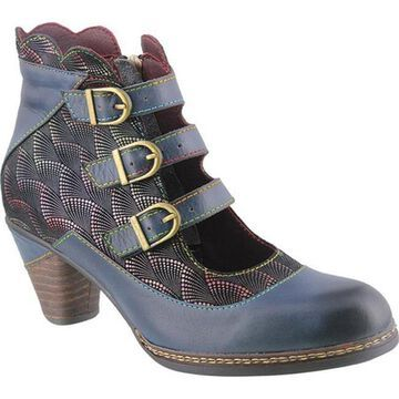 L'Artiste by Spring Step Women's Dorrie Buckled Bootie Navy Multi Leather