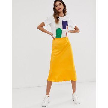 ASOS WHITE satin bias cut skirt-Multi