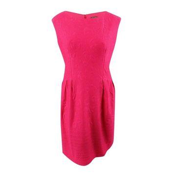Taylor Women's Plus Size Textured A-Line Dress - Fuchsia
