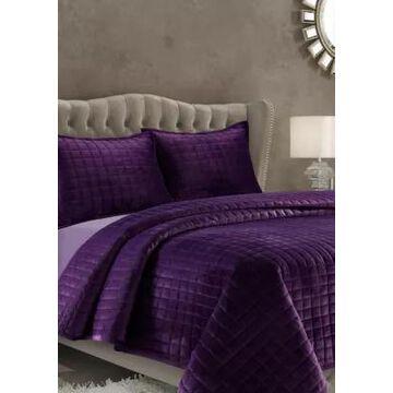 Tribeca Living Florence Velvet Oversized Quilt Set - -