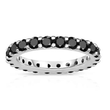 Noray Designs 14K White Gold Black Diamond Eternity Band (2.00-2.40 cttw)