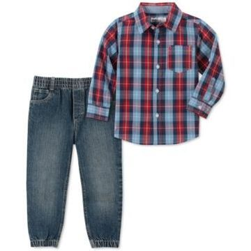 Kids Headquarters Little Boys 2-Pc. Red/Blue Plaid Woven Shirt & Denim Jogger Pants Set