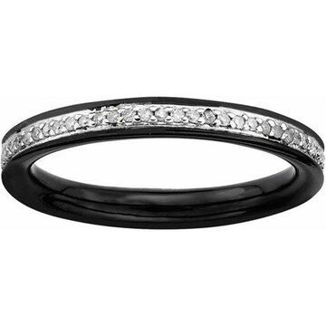 Sterling Silver & Diamonds Black-plated Ring