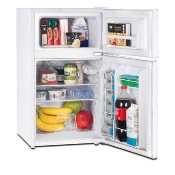 RCA 3.2 Cu Ft Two Door Mini Fridge with Freezer RFR832, White