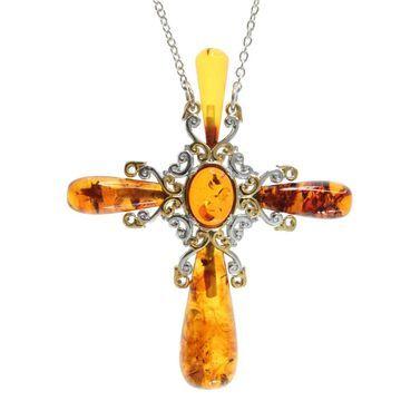 Michael Valitutti Amber 'Cross' Necklace
