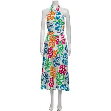 Printed Long Dress White