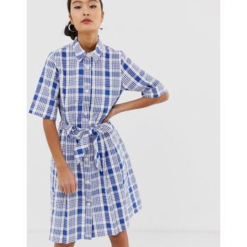 Monki check tie front shirt dress in blue and white