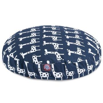 Majestic Pet Stretch Round Dog Bed Cotton Twill Removable Cover Navy Medium 36 x 36 x 5