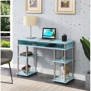 Convenience Concepts Designs2Go No Tools Student Desk with Shelves, Seafoam