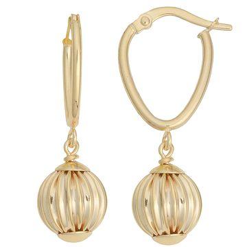 Fremada 10k Yellow Gold Leverback Texture Ball Drop Earrings