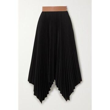 Loewe - Leather-trimmed Asymmetric Pleated Crepe Midi Skirt - Black