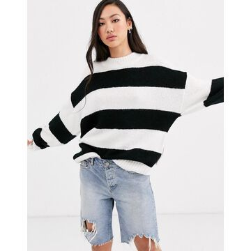 Dr Denim black stripe oversized knit with wool