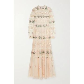 Needle & Thread - Precious Rose Sequin-embellished Lace-trimmed Embroidered Tulle Gown - Neutral