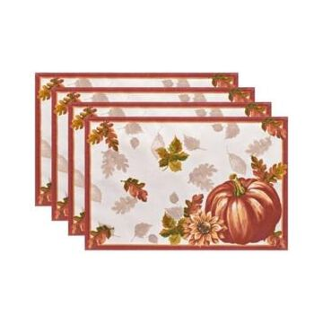 Elrene Swaying Leaves Bordered Fall Placemat, Set of 4