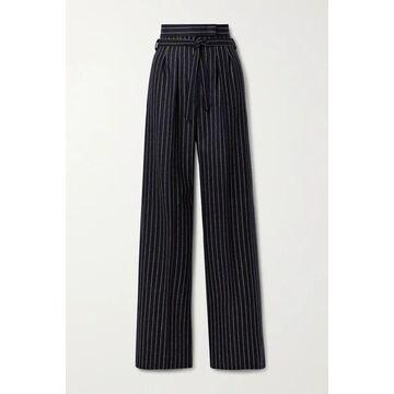 Max Mara - Samba Belted Pinstriped Wool And Cashmere-blend Wide-leg Pants - Midnight blue