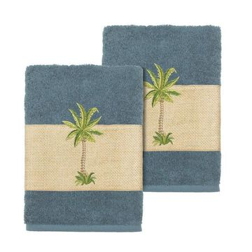Linum Home Textiles Colton Embellished Washcloth Set
