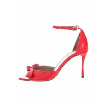 Leather Bow Accents Sandals Red