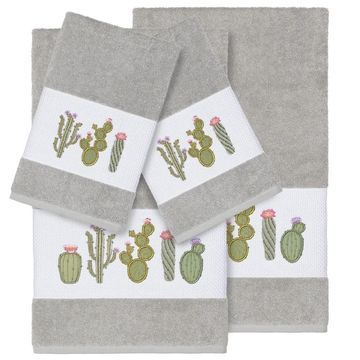 Authentic Hotel and Spa Turkish Cotton Cactus Embroidered Light Grey 4-piece Towel Set
