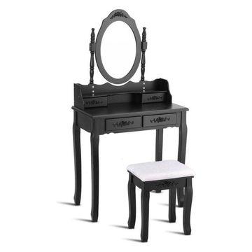 Costway Vanity Wood Makeup Dressing Table Set Bedroom Mirror 4 Drawers Black