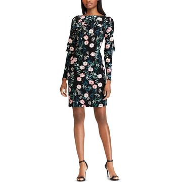 American Living Womens Floral Ruffle Cocktail Dress