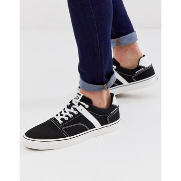 Jack & Jones canvas skater sneakers in black