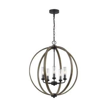 Feiss Allier 5-Light Weathered Oak Wood and Antique Forged Iron Transitional Chandelier | OLF3294/5WOW/AF