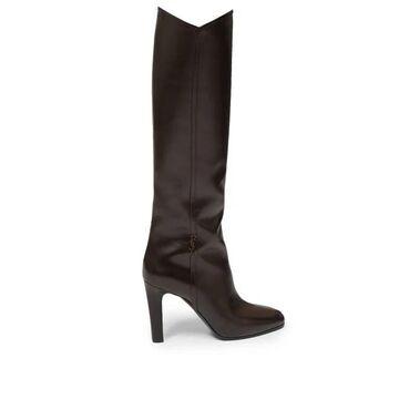 Saint Laurent - Jane Knee-high Leather Boots - Womens - Dark Brown