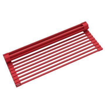 Kraus KRAUS Multipurpose Over-Sink Roll-Up Dish Drying Rack in Red
