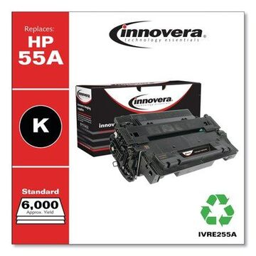 Innovera Remanufactured Black Toner Cartridge, Replacement for HP 55A (CE255A), 6,000 Page-Yield -IVRE255A